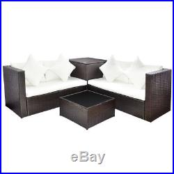 14 Pieces Stylish Garden Table and Chairs Poly Rattan Sofa Set Patio Furniture