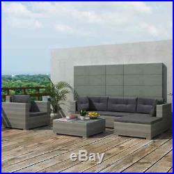 17PC Corner Garden Sofa Lounge Set Poly Rattan Outdoor Furniture Dining Table UK