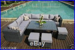 2016PAPAVER RANGE 9 Seater Rattan Corner Sofa & Dining Set Garden Furniture Grey