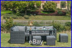 2019 NEW Barcelona range Rattan garden furniture sofa set 9 seater dining set