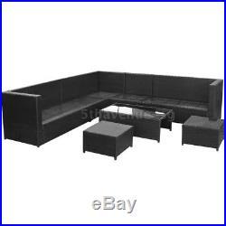 29 Pieces Black Garden Corner Sofa Set Poly Rattan Outdoor Furniture Set B6V6
