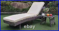 2 Pieces Sun Lounger Rattan Furniture Recliner Pool Wicker Garden