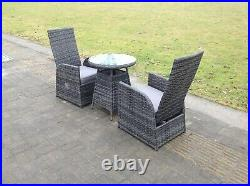 2 Seater bistro reclining rattan dining set outdoor garden furniture mixed grey