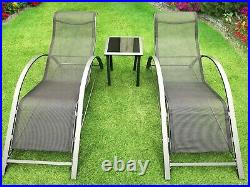 2x Black Chaise Sun Loungers With Glass Side Table Outdoor Garden Furniture Set