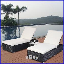 3PCS Rattan Table Recliner Sun Bed Lounger Garden Furniture Terrace Patio Black