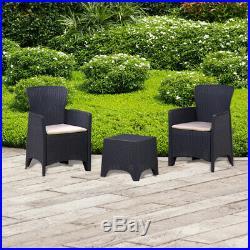 3PC Black Rattan Armchair & Table Bistro Balcony Set Outdoor Garden Furniture