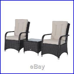 3PC Rattan Sofa Chair Bistro Garden Furniture Set Wicker Table Outdoor Patio