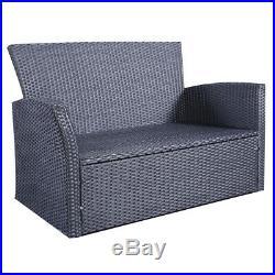 3PC Rattan Sofa Dining Chairs Set Garden Furniture Patio Wicker Outdoor Grey