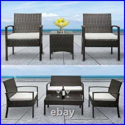 3/4Pcs Rattan Garden Furniture Set Sofa Patio Outdoor Hotel Table Wicker Chairs