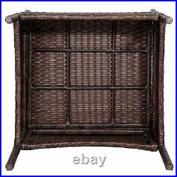 3 Pcs Rattan Garden Furniture Set withCushions Patio Wicker Table Chair Set Brown