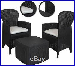 3 Piece Outdoor Indoor Patio Garden Table 2 Chair Rattan Style Furniture Set