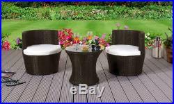 3 Piece Rattan Bistro Stackable Patio Garden Furniture Set Table & 2 Chairs
