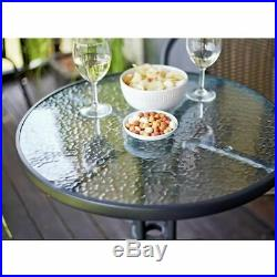 3 Piece Rattan Garden Patio Furniture Conservatory Glass Table & 2 Chairs Set Uk