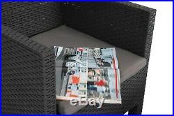 3 Piece Weatherproof Rattan Outdoor Garden Furniture Set, 2 Chairs + 1 Table