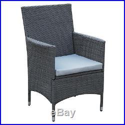 3 Pieces Patio Set Rattan Furniture Chair Bistro Wicker Steel Grey Garden