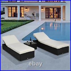 3 Pieces Sun Lounger Rattan Furniture Recliner Pool Wicker Garden