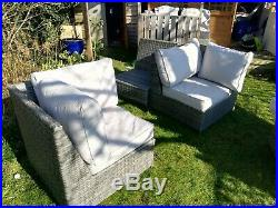 3 Seater rattan 2 corner sofa set outdoor garden furniture Mix Grey RRP £500+