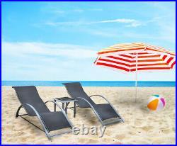 3pc Black Ergonomic Sun Lounger Set + Side Table Chaise Outdoor Garden Furniture