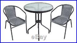 3pcs Rattan Garden Furniture Patio Outdoor Bistro Summer Chairs Table Set Uk