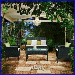 4PCS Outdoor Rattan Garden Furniture Set Coffee Table Chair Sofa Patio Yard Pool