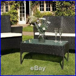 4PCS Outdoor Rattan Garden Furniture Set Table Chair Wicker Sofa Patio Yard Pool