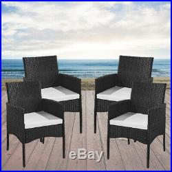 4PCS Rattan Garden Chairs With Seat Cushion Outdoor Furniture Set Conservatory