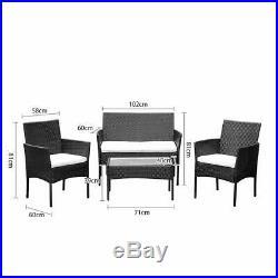 4PCS Ratten Garden Furniture Set Table Chair Sofa Conservatory Patio Outdoor UK