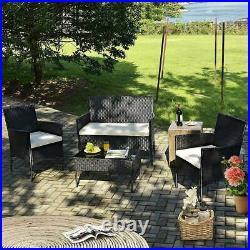 4PC Rattan Garden Patio Furniture Set Outdoor 2 Chairs 1 Sofa & Coffee Table