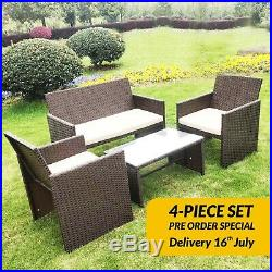4PC Rattan Set Outdoor Garden Patio Furniture 1x Love Seat, 2x Chairs & Table