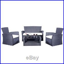 4PC Rattan Sofa Dining Chairs Set Garden Furniture Patio Wicker Outdoor Grey