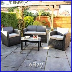 4 PIECE RATTAN FURNITURE SET GARDEN SUMMER OUTDOOR TABLE AND CHAIRS Wido