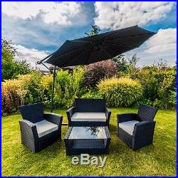 4 Piece Black Curved Rattan Furniture Sofa Armchair Table Garden Furniture Set