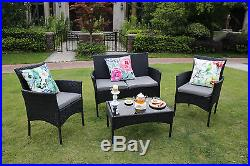 4-Piece Outdoor Rattan Garden Furniture Conservatory Sofa Set Table and Chairs