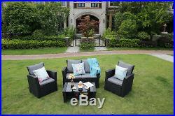 4-Piece Rattan Garden Furniture Outdoor Patio Sofa Set Coffee Table Chairs Black