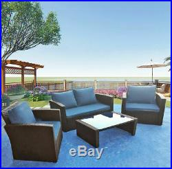 4 Piece Rattan Garden Furniture Patio Set Sofa Table Chairs with Cushion 3 Color