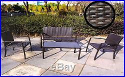 4 Piece Rattan Garden Furniture Set Chairs Sofa Table Outdoor Patio Conservator