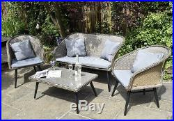 4 Piece Rattan Garden Furniture Sofa Chair Table Set Light Grey