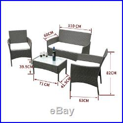 4 Piece Rattan Garden Furniture Sofa Chairs Table Cushions Set Conservatory UK