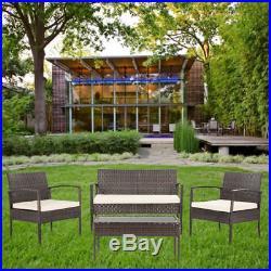4 Piece Set Rattan Wicker Furniture Garden Patio Yard Sofa Coffee Table 2 Chairs