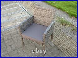 4 Seater Grey Mixed Rattan Sofa Set Dining Table Garden Furniture Outdoor