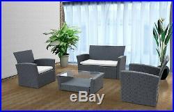 4 Seater Rattan Garden Furniture Lounger Sofa Patio Indoor Outdoor Conservatory