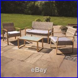 4pc Garden Patio Cream/grey Rattan Chair/sofa Outdoor Furniture Conservatory