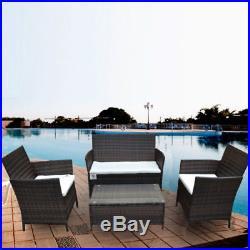 4pc Rattan Garden Furniture Set Outdoor Patio Sofa Wicker Table Chair Brown New