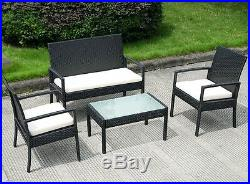 4pc Rattan Garden Patio Sofa Cushion Chairs Table Set Outdoor Bistro Furniture