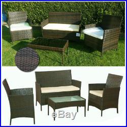 4pcs Garden Rattan Set Patio Wicker Furniture 4 Seater & Table Outdoor Indoor UK