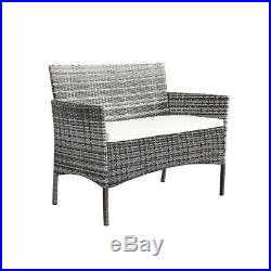 4pcs Rattan Garden Furniture Patio Outdoor Coffee table and Chair Set with Cushion