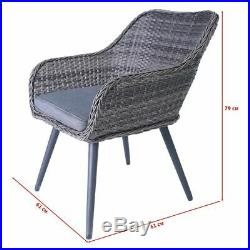5PC Patio Rattan Wicker Table Chairs Sofa Dining Set Furniture Garden Outdoor UK