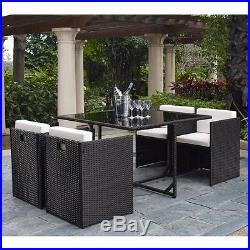 5PC Rattan Garden Furniture Dining Set Wicker Outdoor Patio Black or Brown