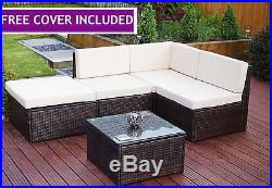 5 Piece Brown Corner Modular Rattan Weave Garden Furniture Set + FREE COVER