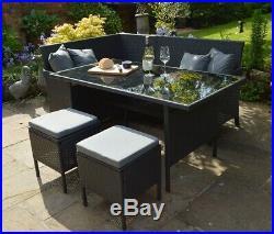 5 Piece Modular 7 Seater Rattan Garden Furniture Dining Set Sofa Corner Stool